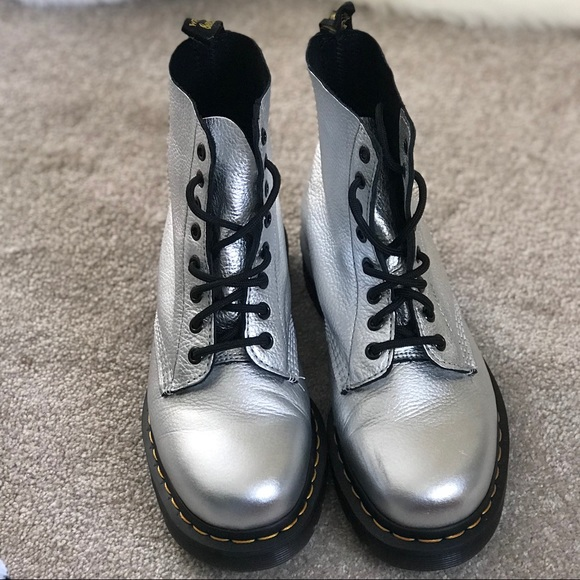 2f5c73333a434 Dr. Martens Shoes   Dr Martens Pascal Met Boot In Silver Santos ...